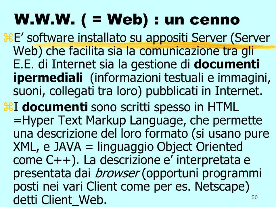 50 W.W.W. ( = Web) : un cenno zE' software installato su appositi Server (Server Web) che facilita sia la comunicazione tra gli E.E. di Internet sia l