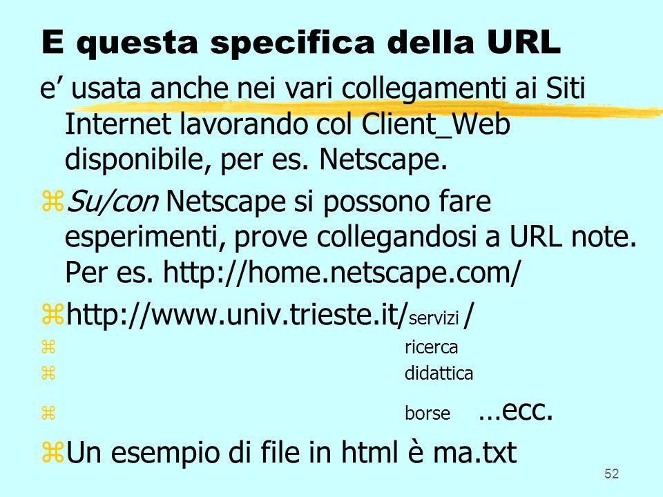 52 E questa specifica della URL e' usata anche nei vari collegamenti ai Siti Internet lavorando col Client_Web disponibile, per es. Netscape. zSu/con