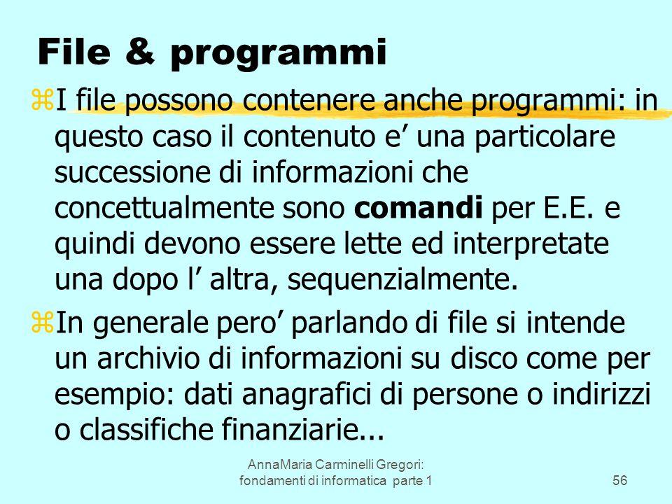 AnnaMaria Carminelli Gregori: fondamenti di informatica parte 156 File & programmi zI file possono contenere anche programmi: in questo caso il contenuto e' una particolare successione di informazioni che concettualmente sono comandi per E.E.