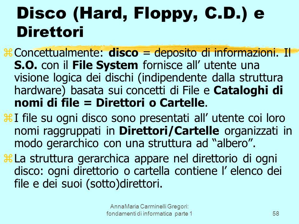 AnnaMaria Carminelli Gregori: fondamenti di informatica parte 158 Disco (Hard, Floppy, C.D.) e Direttori zConcettualmente: disco = deposito di informazioni.