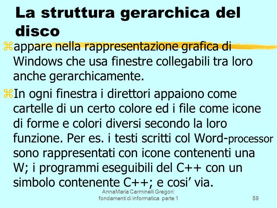 AnnaMaria Carminelli Gregori: fondamenti di informatica parte 159 La struttura gerarchica del disco zappare nella rappresentazione grafica di Windows che usa finestre collegabili tra loro anche gerarchicamente.
