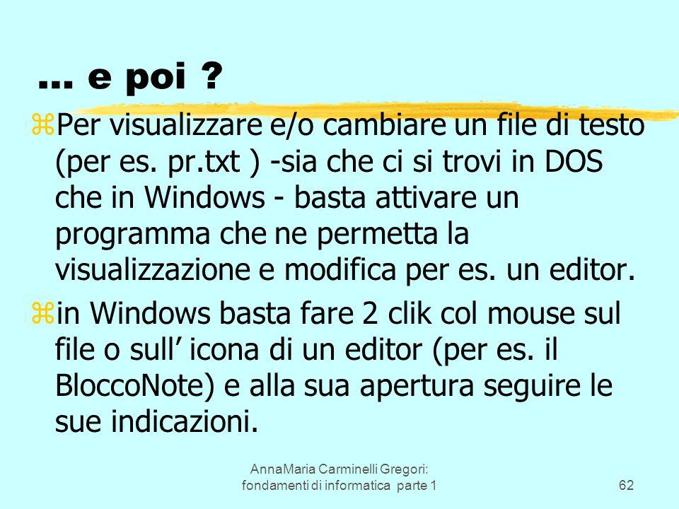 AnnaMaria Carminelli Gregori: fondamenti di informatica parte 162 … e poi ? zPer visualizzare e/o cambiare un file di testo (per es. pr.txt ) -sia che