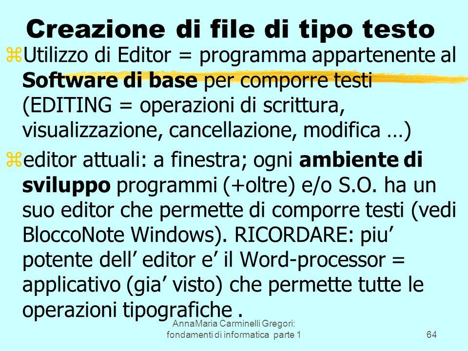 AnnaMaria Carminelli Gregori: fondamenti di informatica parte 164 Creazione di file di tipo testo zUtilizzo di Editor = programma appartenente al Soft