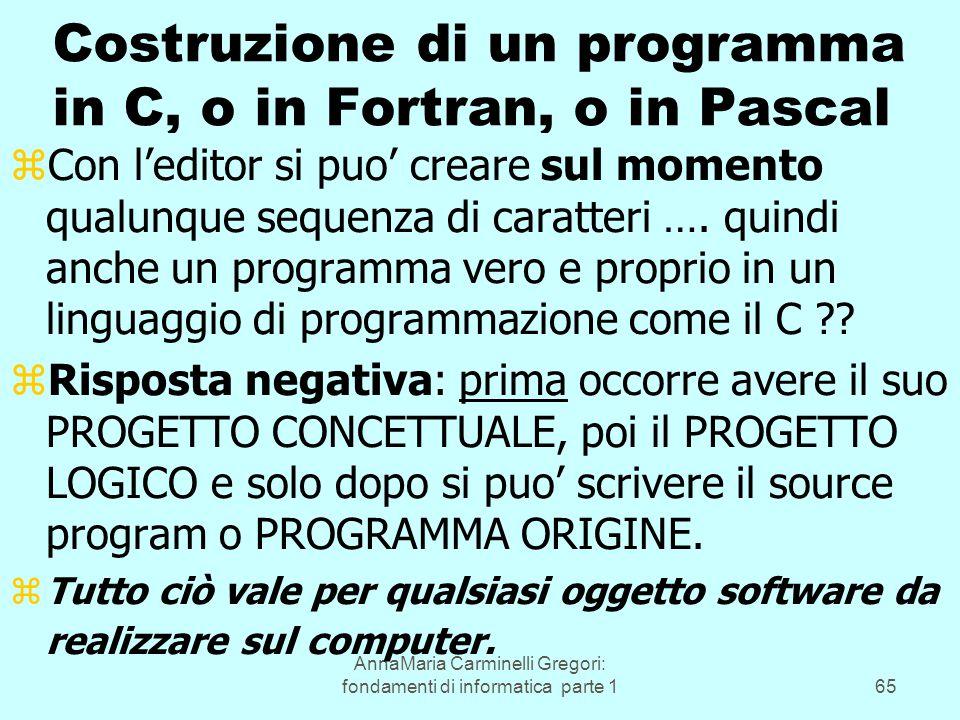 AnnaMaria Carminelli Gregori: fondamenti di informatica parte 165 Costruzione di un programma in C, o in Fortran, o in Pascal zCon l'editor si puo' creare sul momento qualunque sequenza di caratteri ….