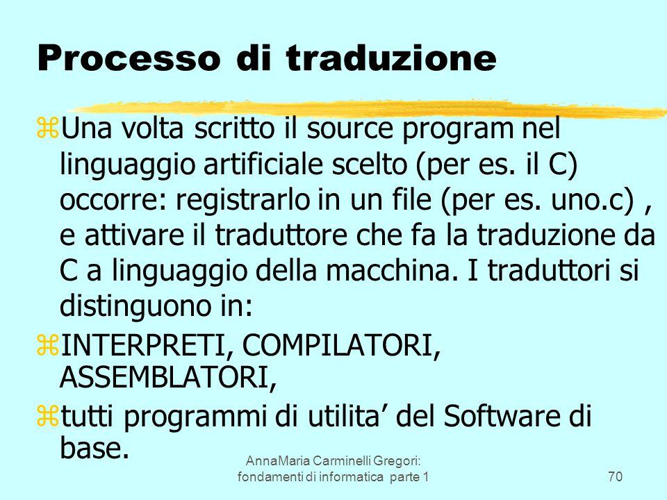 AnnaMaria Carminelli Gregori: fondamenti di informatica parte 170 Processo di traduzione zUna volta scritto il source program nel linguaggio artificiale scelto (per es.