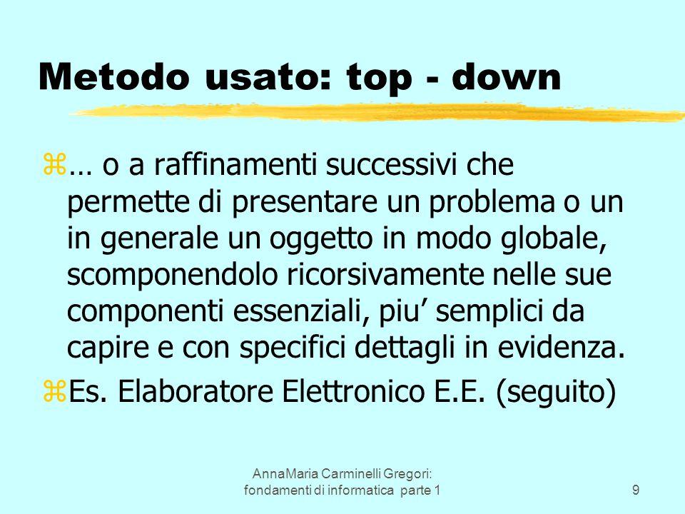 AnnaMaria Carminelli Gregori: fondamenti di informatica parte 19 Metodo usato: top - down z… o a raffinamenti successivi che permette di presentare un
