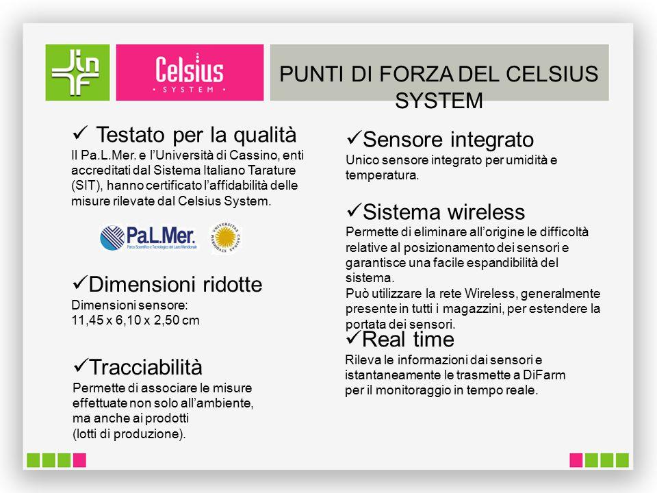 PUNTI DI FORZA DEL CELSIUS SYSTEM Testato per la qualità Il Pa.L.Mer.