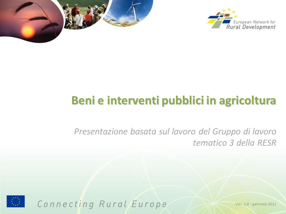 Beni e interventi pubblici in agricoltura Ver. 1.0 - gennaio 2011 Presentazione basata sul lavoro del Gruppo di lavoro tematico 3 della RESR