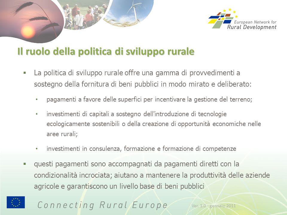 Il ruolo della politica di sviluppo rurale  La politica di sviluppo rurale offre una gamma di provvedimenti a sostegno della fornitura di beni pubbli