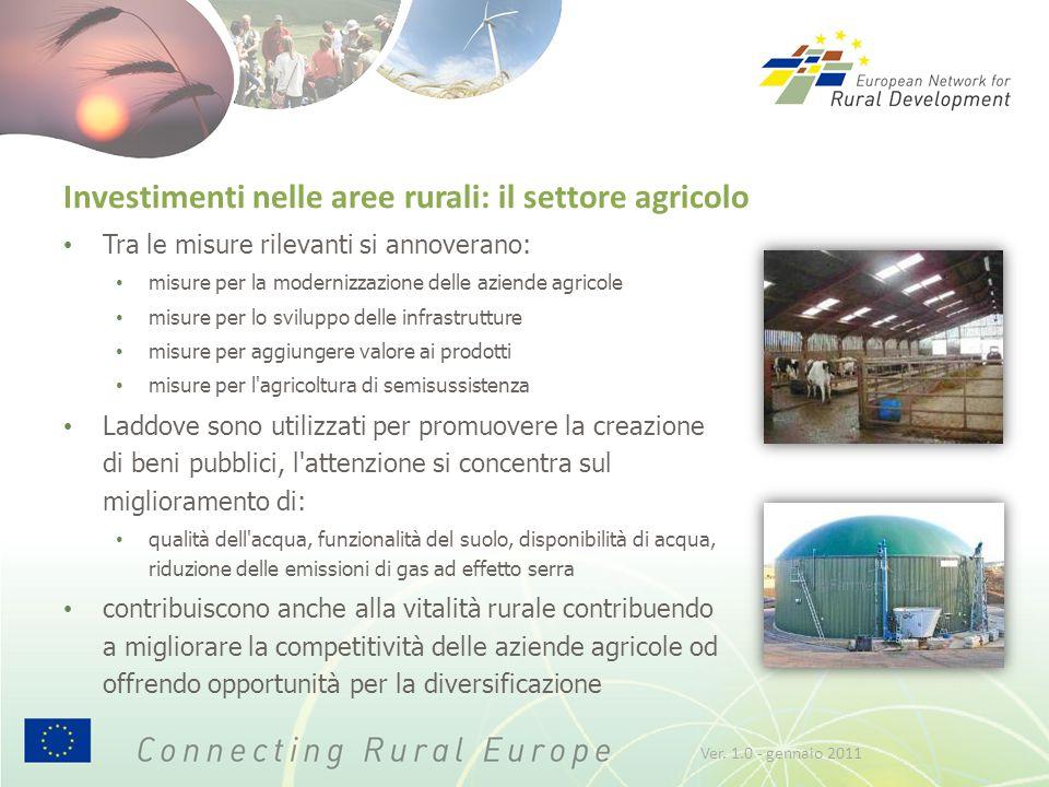 Investimenti nelle aree rurali: il settore agricolo Tra le misure rilevanti si annoverano: misure per la modernizzazione delle aziende agricole misure