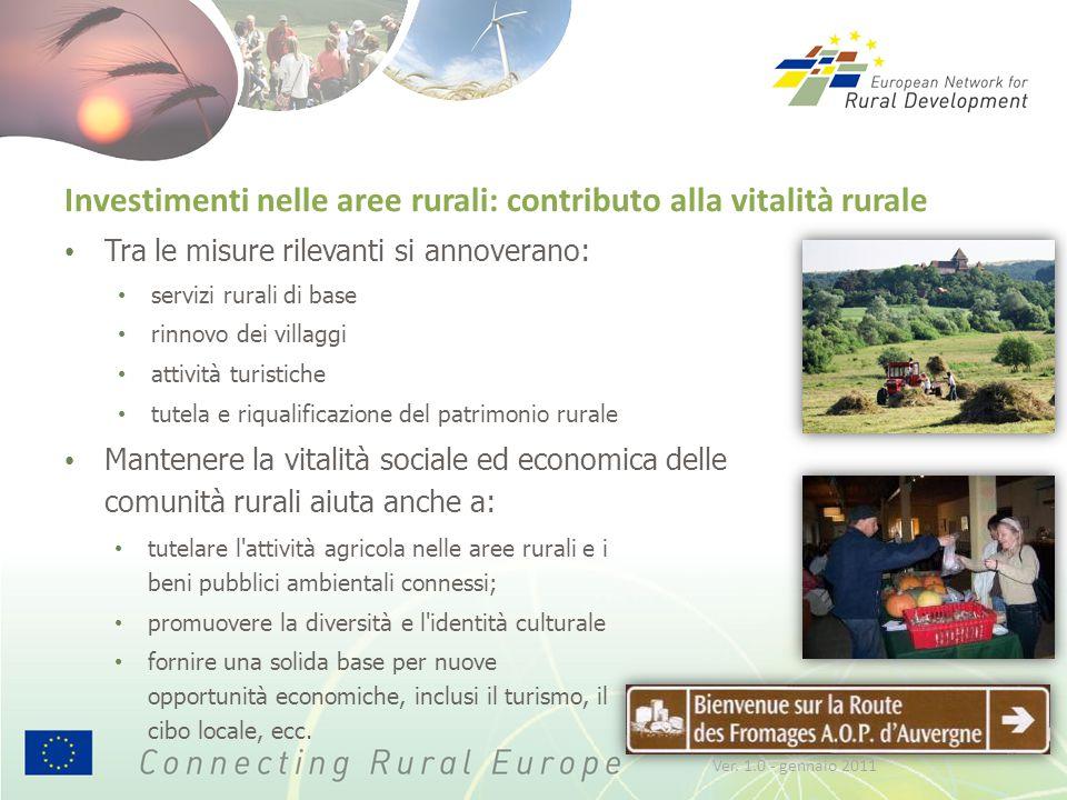 Investimenti nelle aree rurali: contributo alla vitalità rurale Tra le misure rilevanti si annoverano: servizi rurali di base rinnovo dei villaggi att