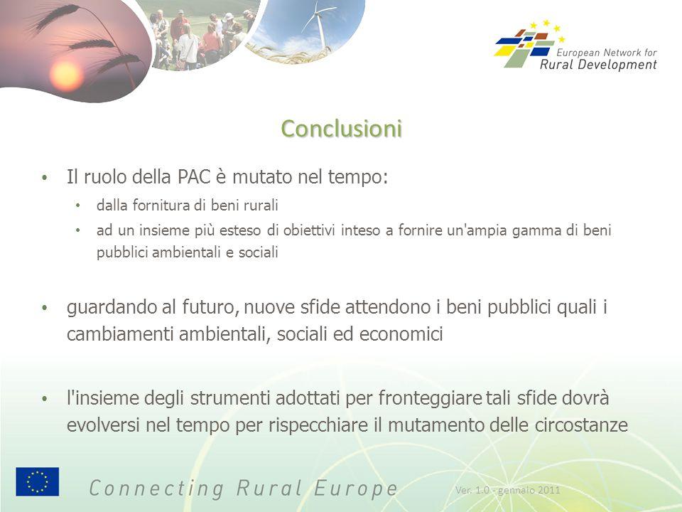 Conclusioni Il ruolo della PAC è mutato nel tempo: dalla fornitura di beni rurali ad un insieme più esteso di obiettivi inteso a fornire un'ampia gamm