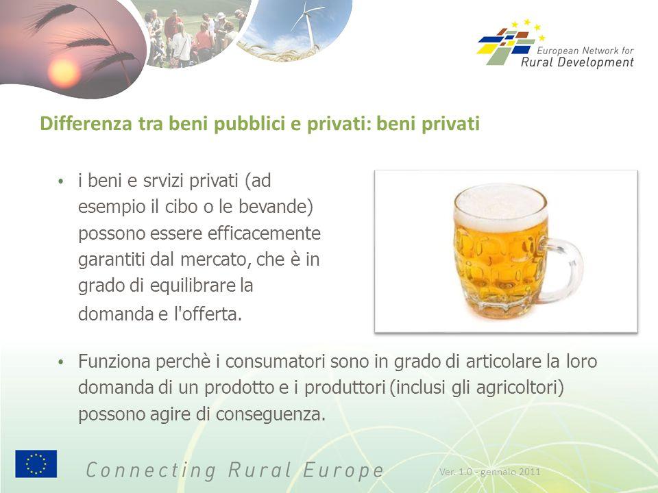 Differenza tra beni pubblici e privati: beni privati i beni e srvizi privati (ad esempio il cibo o le bevande) possono essere efficacemente garantiti dal mercato, che è in grado di equilibrare la domanda e l offerta.