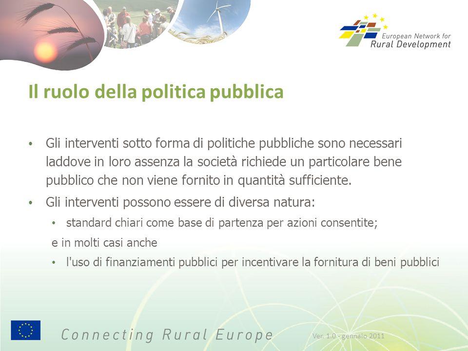 Il ruolo della politica pubblica Gli interventi sotto forma di politiche pubbliche sono necessari laddove in loro assenza la società richiede un particolare bene pubblico che non viene fornito in quantità sufficiente.