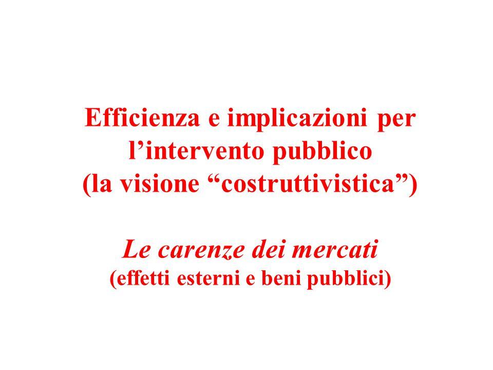 """Efficienza e implicazioni per l'intervento pubblico (la visione """"costruttivistica"""") Le carenze dei mercati (effetti esterni e beni pubblici)"""