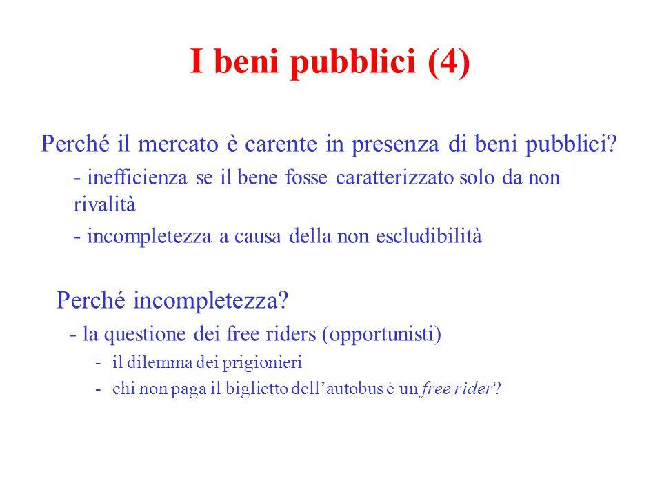 I beni pubblici (4) Perché il mercato è carente in presenza di beni pubblici? - inefficienza se il bene fosse caratterizzato solo da non rivalità - in