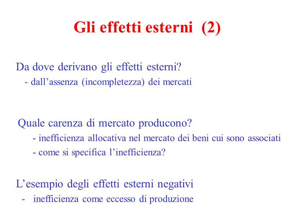 Gli effetti esterni (2) Quale carenza di mercato producono? - inefficienza allocativa nel mercato dei beni cui sono associati - come si specifica l'in
