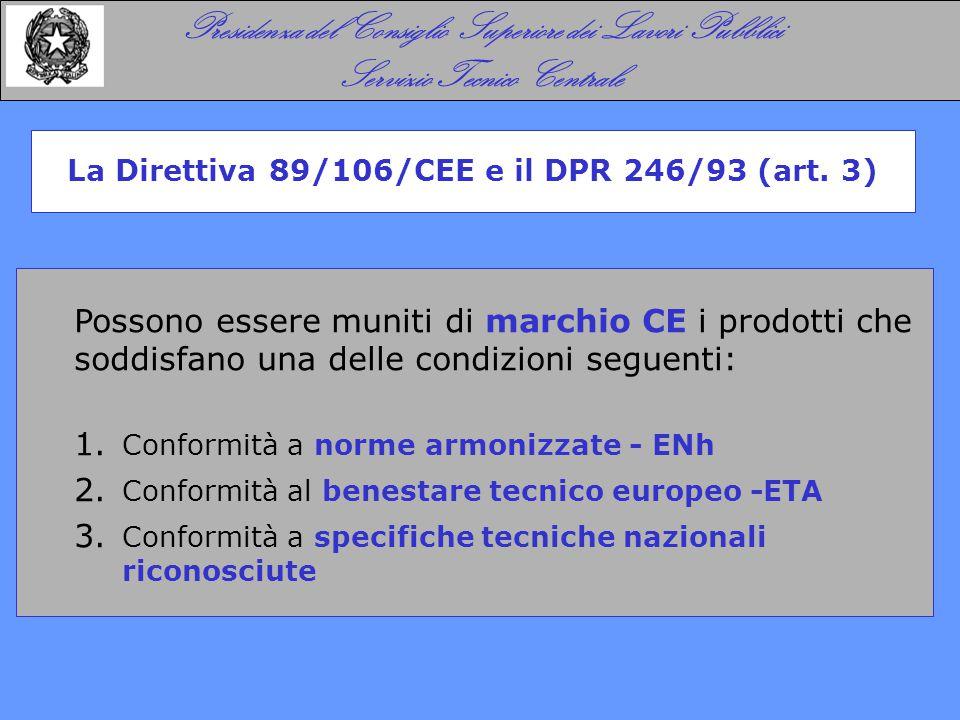 Possono essere muniti di marchio CE i prodotti che soddisfano una delle condizioni seguenti: 1. Conformità a norme armonizzate - ENh 2. Conformità al