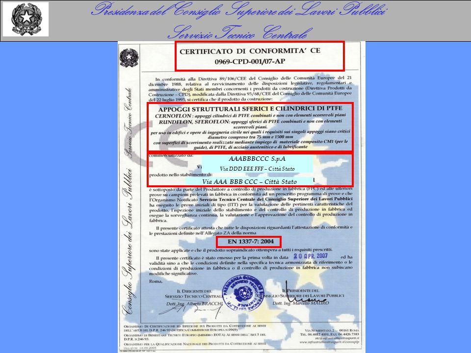 Presidenza del Consiglio Superiore dei Lavori Pubblici Servizio Tecnico Centrale AAABBBCCC S.p.A Via DDD EEE FFF – Città Stato Via AAA BBB CCC – Città