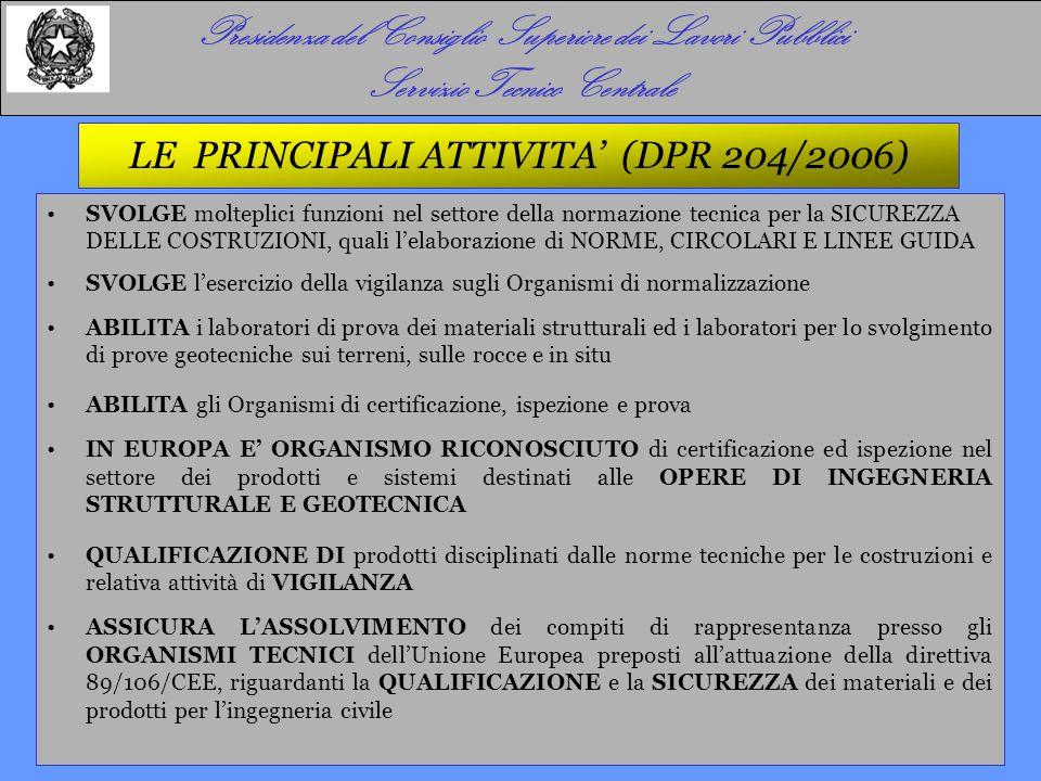 Presidenza del Consiglio Superiore dei Lavori Pubblici Servizio Tecnico Centrale Aggregati All.
