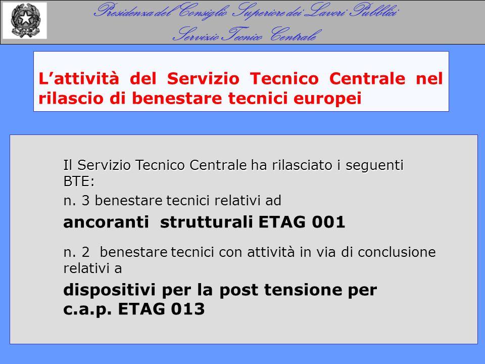 L'attività del Servizio Tecnico Centrale nel rilascio di benestare tecnici europei Presidenza del Consiglio Superiore dei Lavori Pubblici Servizio Tecnico Centrale Il Servizio Tecnico Centrale ha rilasciato i seguenti BTE: n.