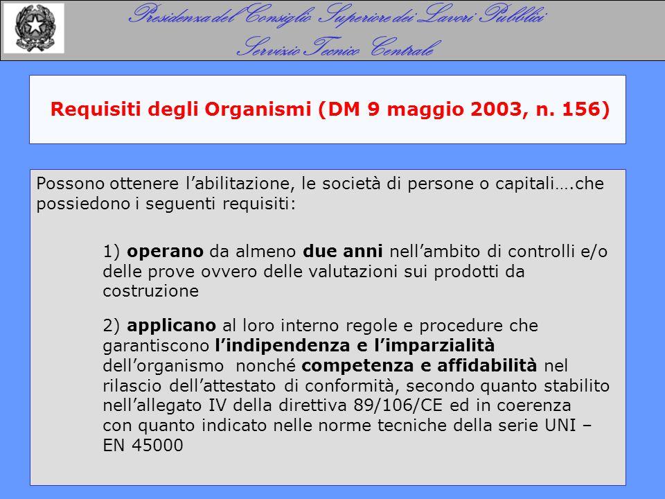 Requisiti degli Organismi (DM 9 maggio 2003, n. 156) Presidenza del Consiglio Superiore dei Lavori Pubblici Servizio Tecnico Centrale Possono ottenere