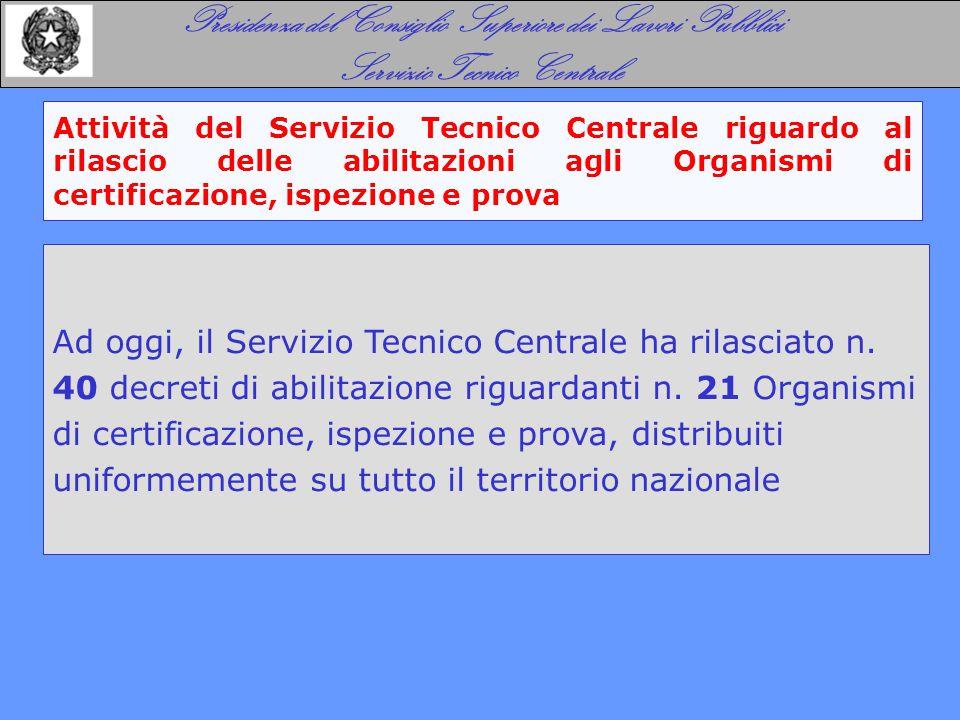 Attività del Servizio Tecnico Centrale riguardo al rilascio delle abilitazioni agli Organismi di certificazione, ispezione e prova Presidenza del Cons