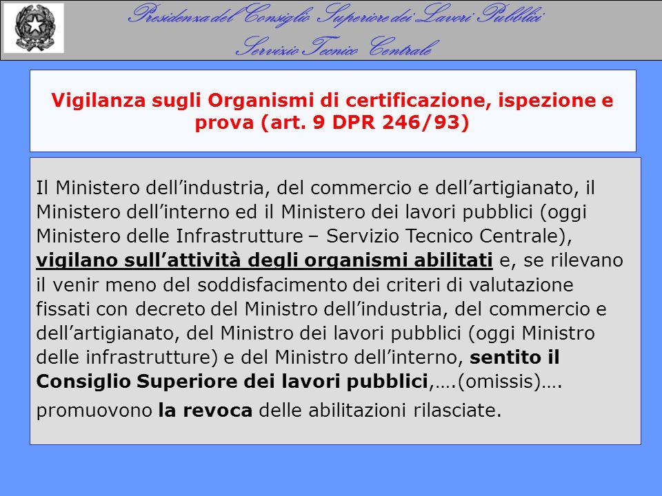 Vigilanza sugli Organismi di certificazione, ispezione e prova (art. 9 DPR 246/93) Presidenza del Consiglio Superiore dei Lavori Pubblici Servizio Tec