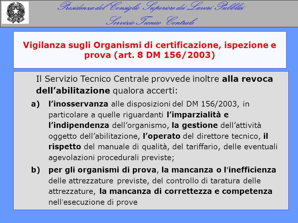 Vigilanza sugli Organismi di certificazione, ispezione e prova (art. 8 DM 156/2003) Presidenza del Consiglio Superiore dei Lavori Pubblici Servizio Te