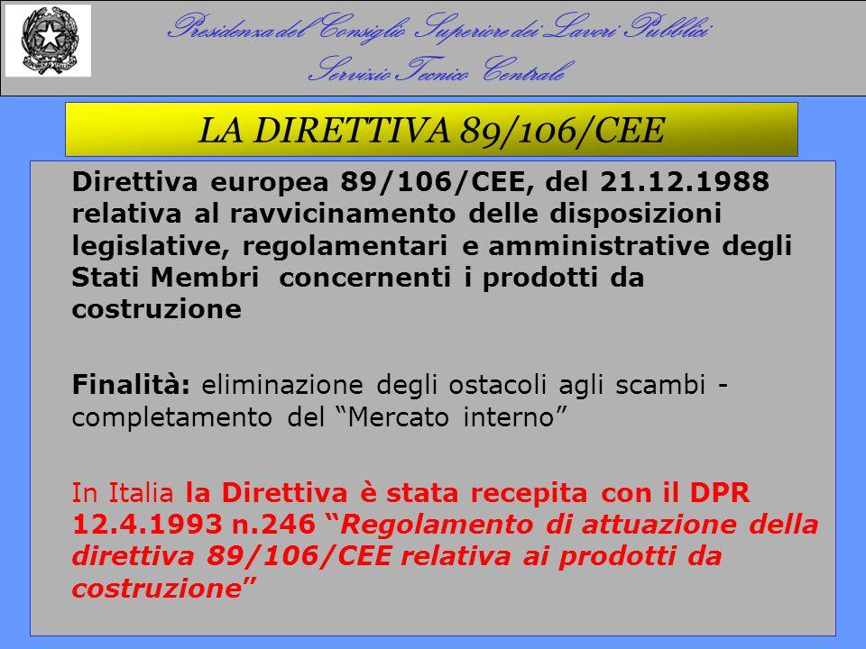 LA DIRETTIVA 89/106/CEE Direttiva europea 89/106/CEE, del 21.12.1988 relativa al ravvicinamento delle disposizioni legislative, regolamentari e ammini