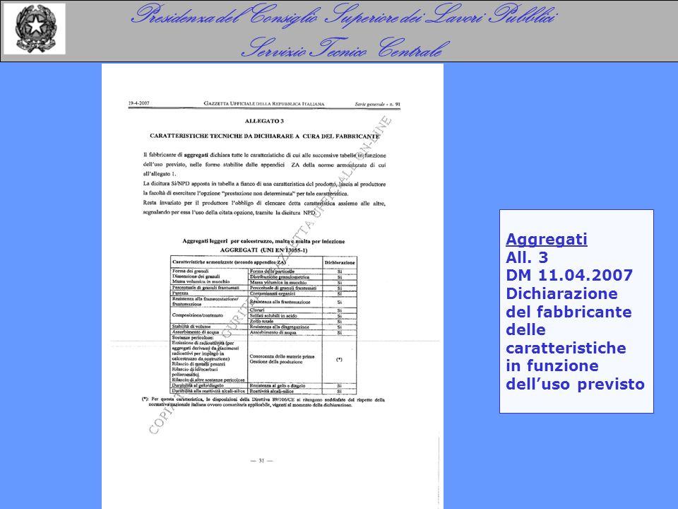 Presidenza del Consiglio Superiore dei Lavori Pubblici Servizio Tecnico Centrale Aggregati All. 3 DM 11.04.2007 Dichiarazione del fabbricante delle ca