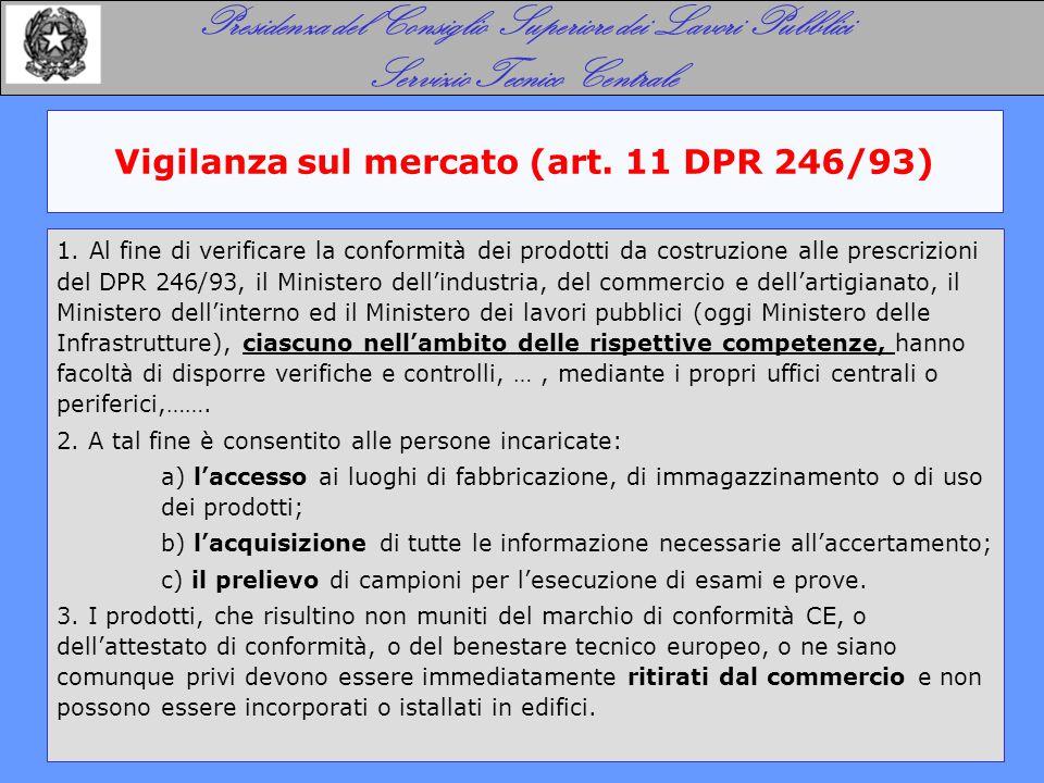 Vigilanza sul mercato (art. 11 DPR 246/93) Presidenza del Consiglio Superiore dei Lavori Pubblici Servizio Tecnico Centrale 1. Al fine di verificare l