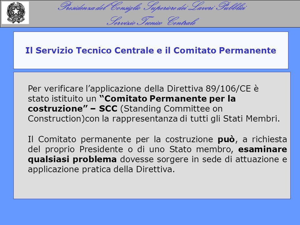 Il Servizio Tecnico Centrale e il Comitato Permanente Presidenza del Consiglio Superiore dei Lavori Pubblici Servizio Tecnico Centrale Per verificare l'applicazione della Direttiva 89/106/CE è stato istituito un Comitato Permanente per la costruzione – SCC (Standing Committee on Construction)con la rappresentanza di tutti gli Stati Membri.