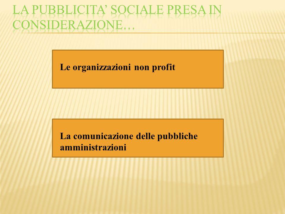 Le organizzazioni non profit La comunicazione delle pubbliche amministrazioni
