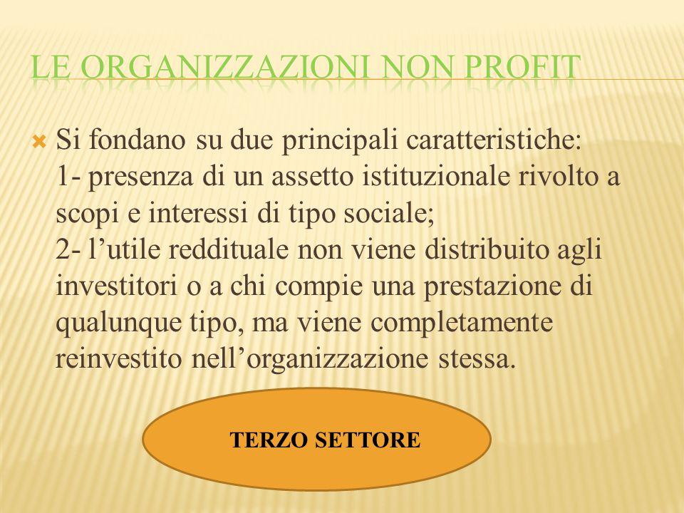 Si fondano su due principali caratteristiche: 1- presenza di un assetto istituzionale rivolto a scopi e interessi di tipo sociale; 2- l'utile reddit
