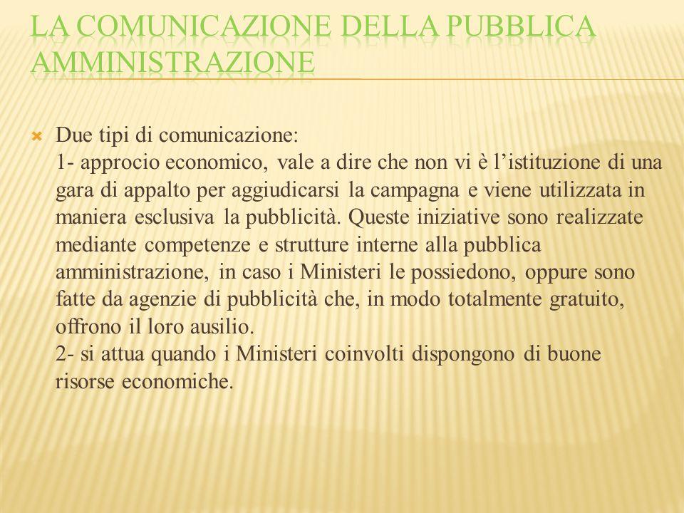  Due tipi di comunicazione: 1- approcio economico, vale a dire che non vi è l'istituzione di una gara di appalto per aggiudicarsi la campagna e viene utilizzata in maniera esclusiva la pubblicità.