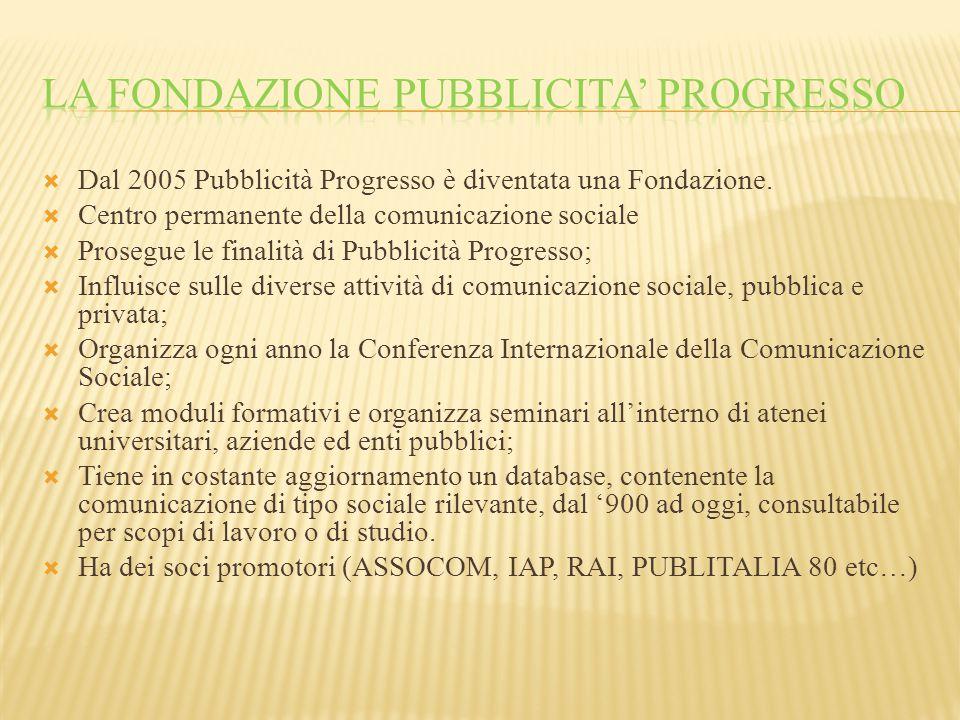  Dal 2005 Pubblicità Progresso è diventata una Fondazione.  Centro permanente della comunicazione sociale  Prosegue le finalità di Pubblicità Progr