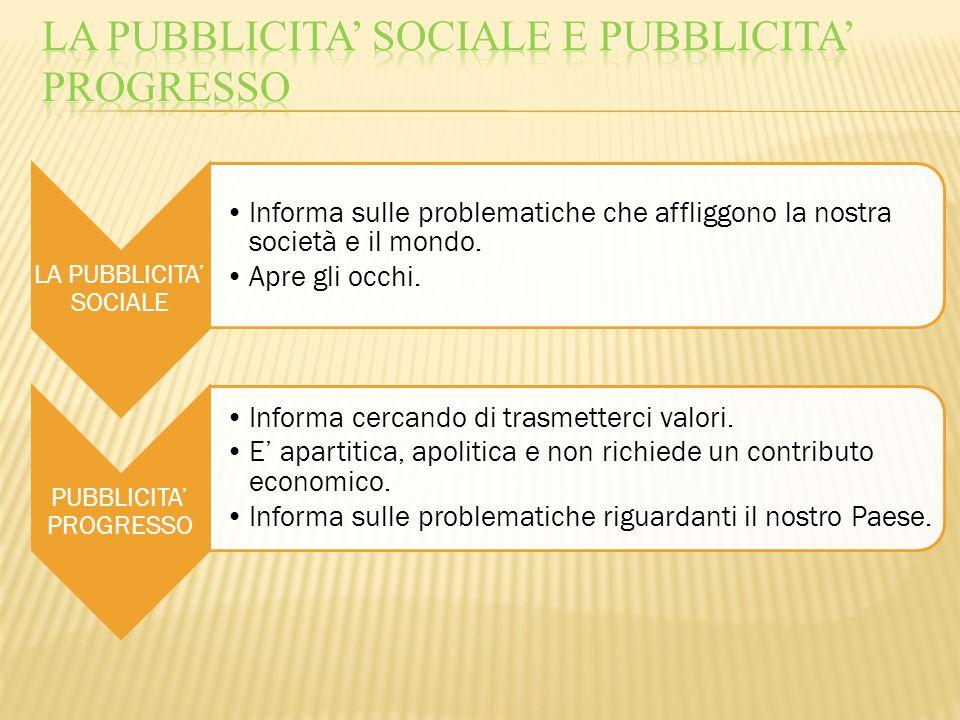 LA PUBBLICITA' SOCIALE Informa sulle problematiche che affliggono la nostra società e il mondo. Apre gli occhi. PUBBLICITA' PROGRESSO Informa cercando