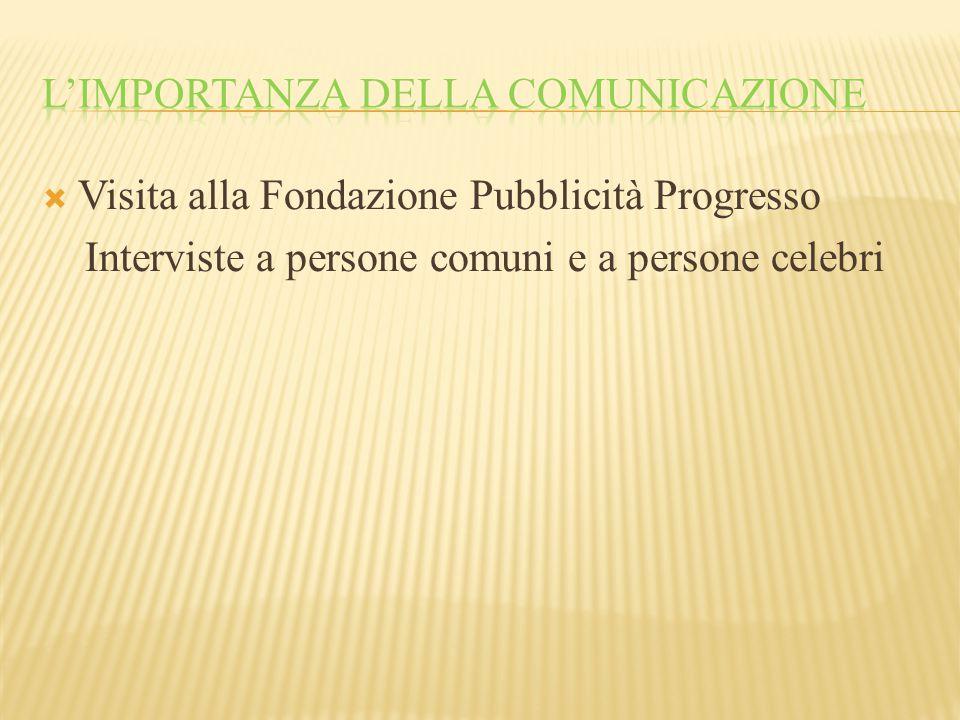  Visita alla Fondazione Pubblicità Progresso Interviste a persone comuni e a persone celebri