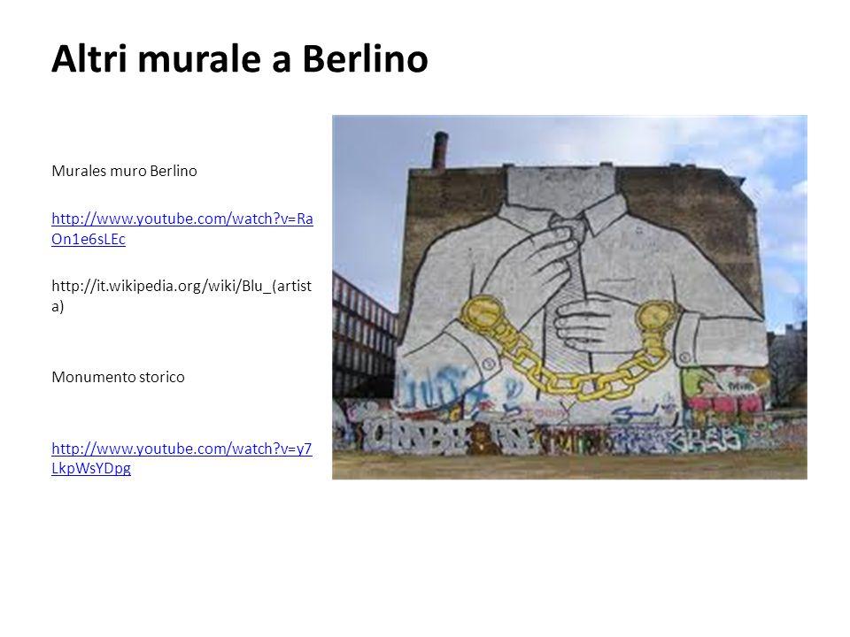 Altri murale a Berlino Murales muro Berlino http://www.youtube.com/watch?v=Ra On1e6sLEc http://it.wikipedia.org/wiki/Blu_(artist a) Monumento storico