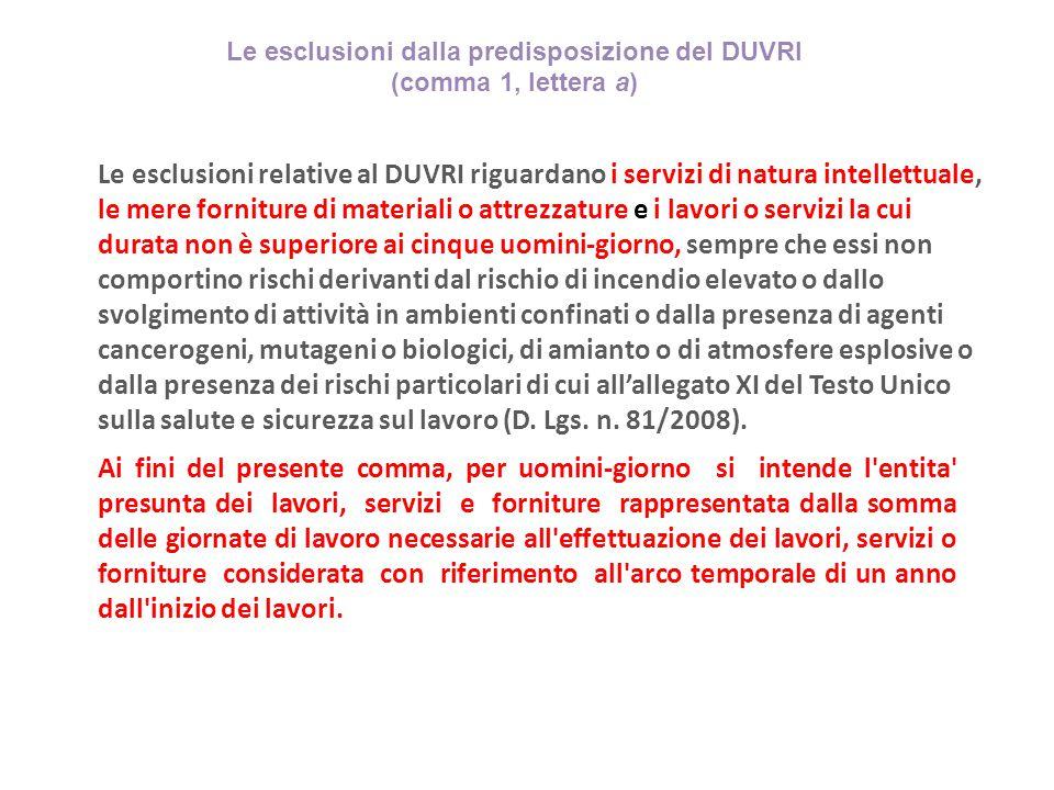 Le esclusioni dalla predisposizione del DUVRI (comma 1, lettera a) Le esclusioni relative al DUVRI riguardano i servizi di natura intellettuale, le me