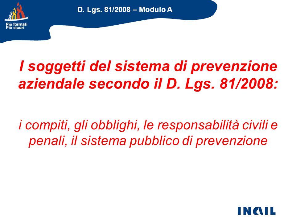 D. Lgs. 81/2008 – Modulo A I soggetti del sistema di prevenzione aziendale secondo il D. Lgs. 81/2008: i compiti, gli obblighi, le responsabilità civi