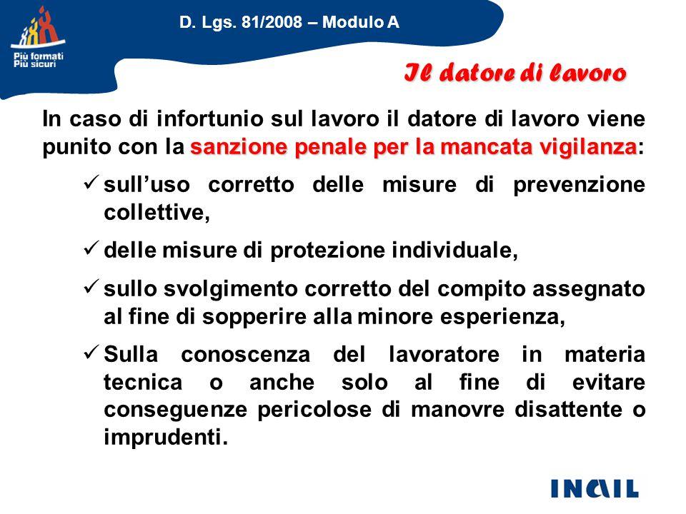 D. Lgs. 81/2008 – Modulo A sanzione penale per la mancata vigilanza In caso di infortunio sul lavoro il datore di lavoro viene punito con la sanzione