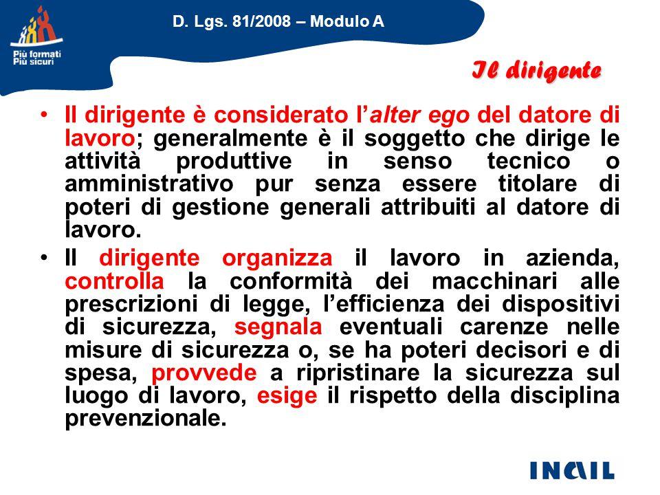 D. Lgs. 81/2008 – Modulo A Il dirigente è considerato l'alter ego del datore di lavoro; generalmente è il soggetto che dirige le attività produttive i
