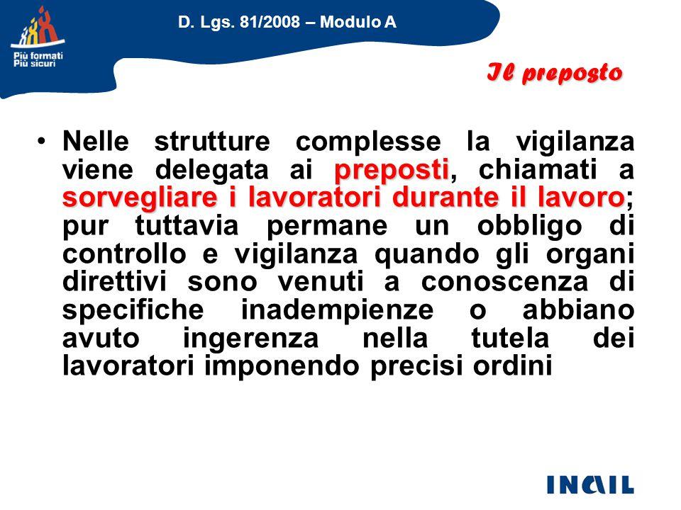 D. Lgs. 81/2008 – Modulo A preposti sorvegliare i lavoratori durante il lavoroNelle strutture complesse la vigilanza viene delegata ai preposti, chiam