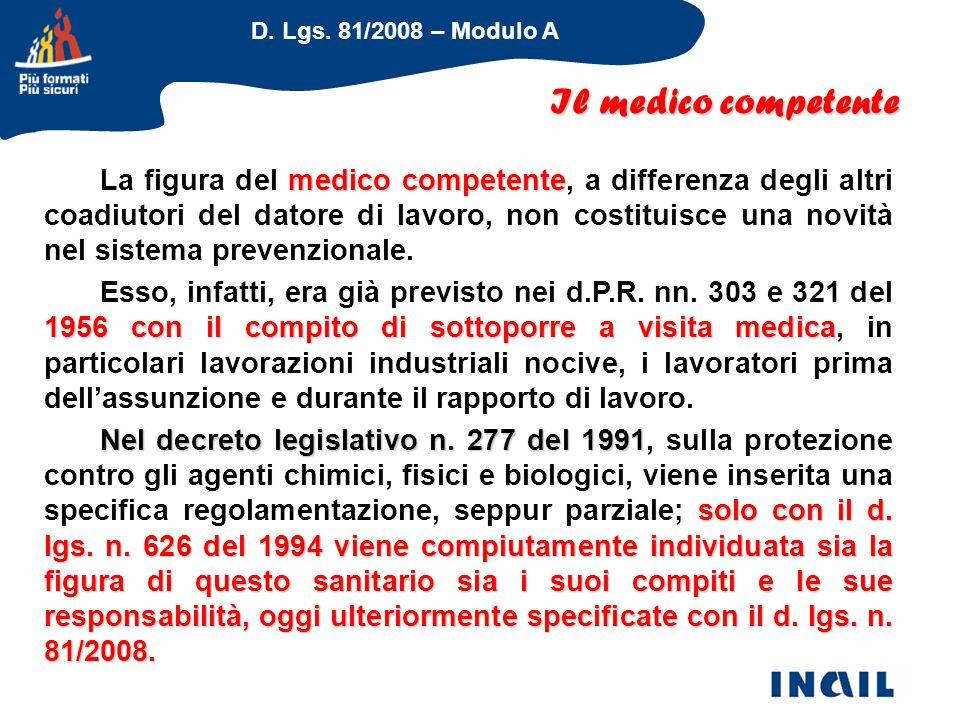 D. Lgs. 81/2008 – Modulo A Il medico competente medico competente La figura del medico competente, a differenza degli altri coadiutori del datore di l