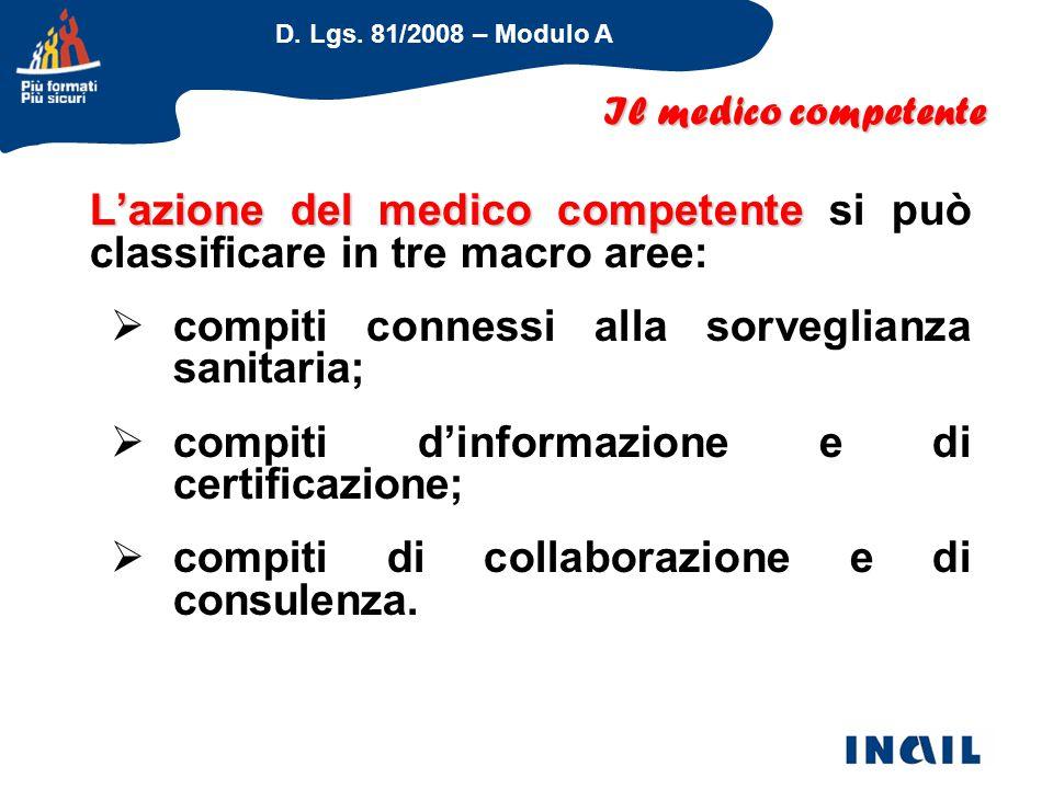D. Lgs. 81/2008 – Modulo A L'azione del medico competente L'azione del medico competente si può classificare in tre macro aree:  compiti connessi all