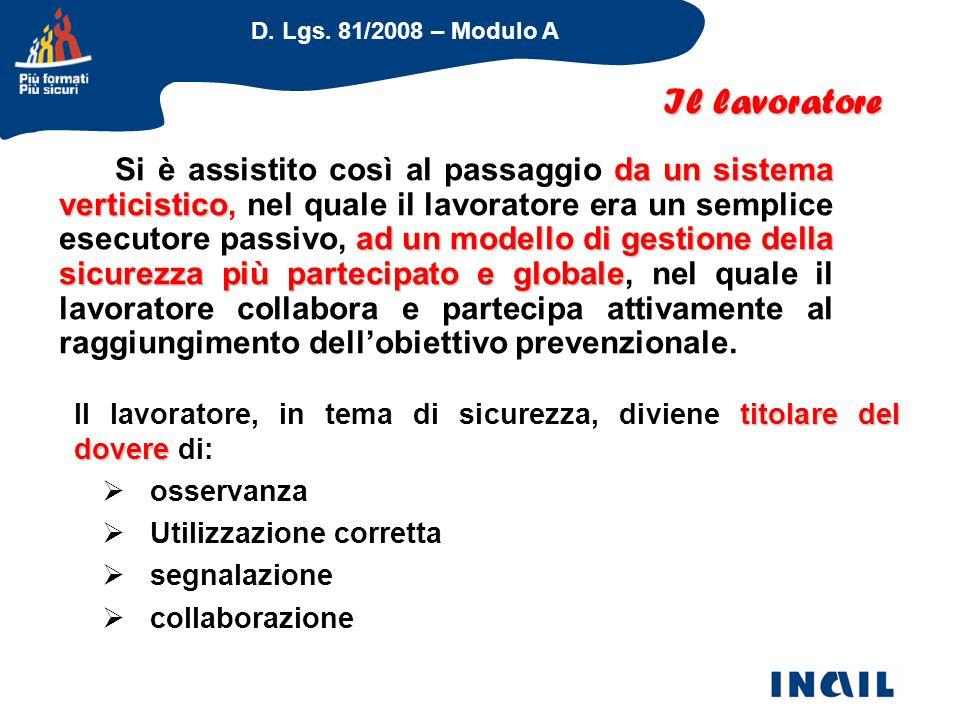 D. Lgs. 81/2008 – Modulo A Il lavoratore da un sistema verticistico ad un modello di gestione della sicurezza più partecipato e globale Si è assistito