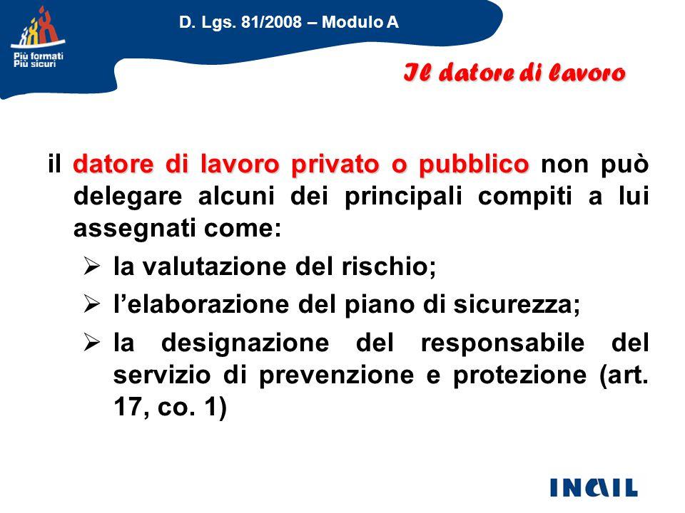 D. Lgs. 81/2008 – Modulo A datore di lavoro privato o pubblico il datore di lavoro privato o pubblico non può delegare alcuni dei principali compiti a