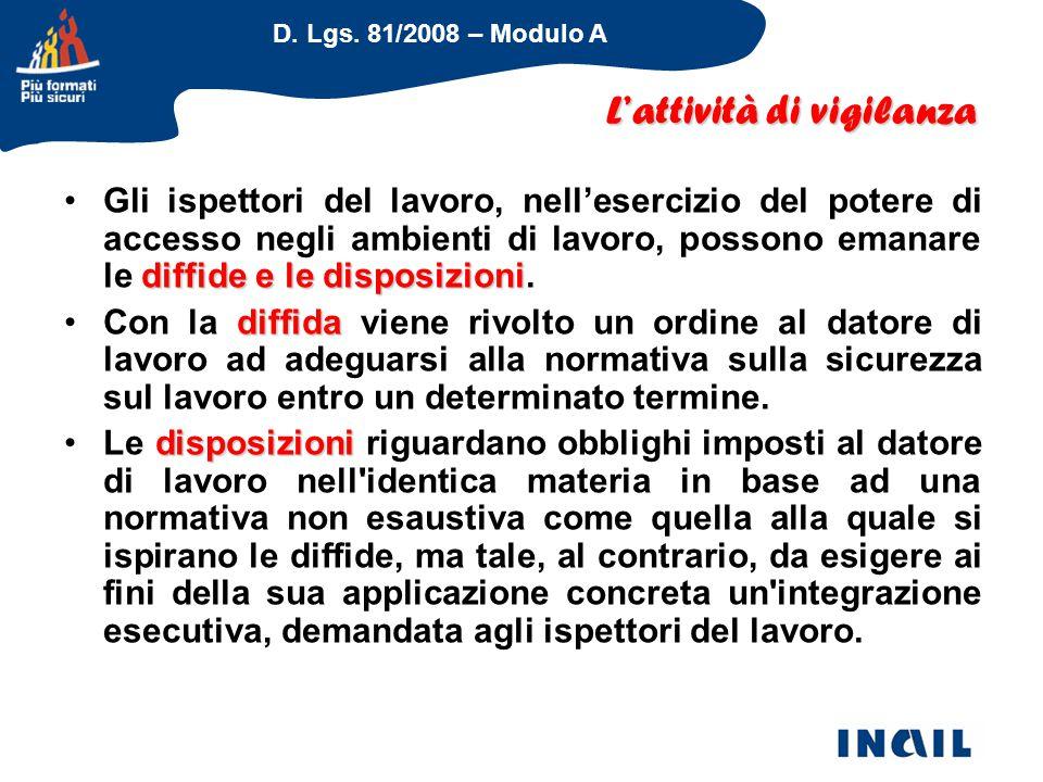 D. Lgs. 81/2008 – Modulo A diffide e le disposizioniGli ispettori del lavoro, nell'esercizio del potere di accesso negli ambienti di lavoro, possono e
